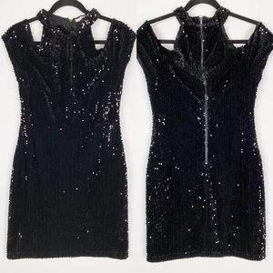 BOSTON PROPER Sequined Cold Shoulder Mini Dress